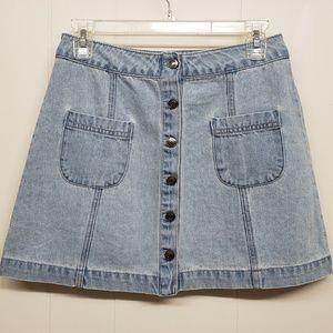 NWT! Light Wash Denim Button Up Mini Skirt